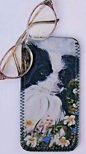 PAPILLON TOY BREED DOG NEOPRENE GLASSES CASE POUCH  SANDRA COEN ARTIST OIL PRINT