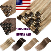 "8PCS 16""18""20""22"" Clip In 100% Remy Real Human Hair Extensions Full Head US B791"