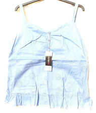 Bon Marche - Cotton Blue Sleeveless Top - Button & Flower Cut Out Detail 16 BNWT