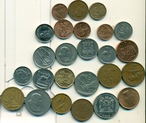25 DIFFERENT COINS from SOUTH AFRICA (25 TYPES/9 DENOMINATIONS/1953-2014)..Lot 1