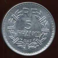 5 francs LAVRILLIER 1947   le 9  ouvert  ( SPL )