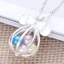 New listing New Disney Minnie Mouse Ears Silver Plated Pearl Beads Cage Necklace