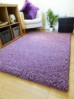 NEW THICK PLAIN MAUVE SHAGGY RUG MODERN COLOUR SMALL LARGE RUNNER SIZES UK