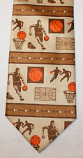 NEW Ralph Marlin Silk Neck Tie Beige with Basketball Theme 1543