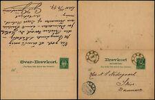 L534 Norway double postcard stationery Denmark Risor Skive 1897