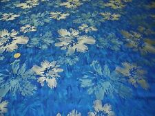 TWILL TAFETTA FLORAL BROCADE-ROYAL/BEIGE -DRESS/BRIDAL FABRIC-FREE P&P
