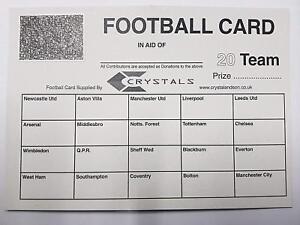25X 20 Team football scratch cards UK team names FUNDRAISING IDEAS
