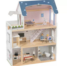WOODEN DOLL HOUSE WITH FURNITURE + DOLLS + LIGHTS KIDS,Playtive