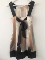 Ted Baker Silk Dress Wedding Party Evening Multi Occasion Bow Grey Pink Cream 10