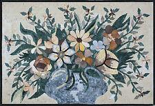Vase Framed Wild Garden Flowers Bouquet Marble Mosaic Fl748