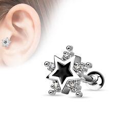 STAR cartilage tragus clear CZ 16G barbell Black enamel center ear piercing
