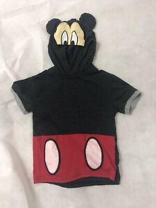 DISNEY MICKEY MOUSE SHORT SLEEVE HOODED SWEATSHIRT BOYS 5T EXCELLENT