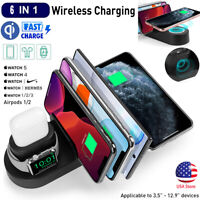 6 in 1 Wireless Charging Dock Station Holder Fr Apple iWatch AirPods /iPhone 11