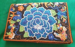 """Beautiful bright floral embroidered clutch bag. Zip, fold over front. 8"""" x 5.5"""""""
