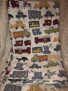 Fire trucks planes cars Pottery Barn Kids Flat Sheet 100% cotton Twin