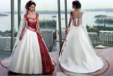 Neu Weiß+Rot Hochzeitskleid Brautkleid Brautkleider Brauch Gr:32 34 36 38 40 42+