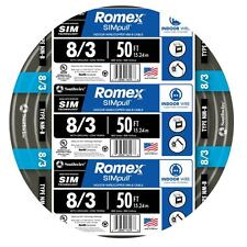 50-Ft Roll 8-3 AWG NM-B Gauge Indoor Electrical Copper-Wire Ground Romex Cable