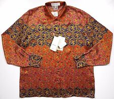 ESCADA NWT WOMENS 44 LARGE 14 LUXURY SHIRT BLOUSE 100% SILK RED GOLD PAISLEY LUX