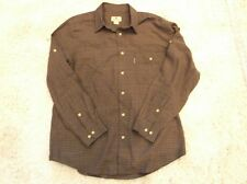 WOOLRICH mens plaid gingham long sleeve shirt LARGE Brown 100% cotton EUC