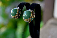 Vintage CHINESE Export Cloisonne JADEITE Cabochon EARRINGS Vermeil Clip Backs
