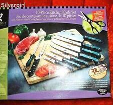 10 PC Kitchen Knife Set With Cutting Board, Scissors, Sharpener, Fork