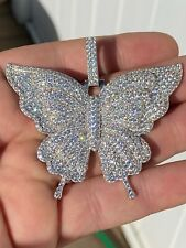 "Solid 925 Silver HUGE Iced 2.5"" Butterly Hip Hop Pendant For Men Ladies Necklace"
