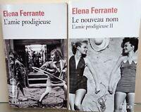 Lot de 2 livres d'Elena Ferrante l'amie prodigieuse en Folio tome 1 et 2