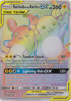 Raichu & Alolan Raichu GX 241/236 Rainbow Rare Pokemon Card (SM11 Unified Minds)