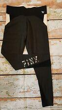 Victorias Secret PINK Legging Flat YOGA Pant Gray Floral Graphic M Medium NWT
