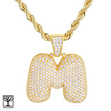 """M Initial Custom Bubble Letter Gold Plated Iced CZ Pendant 24"""" Chain Necklace"""
