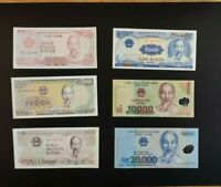 Vietnam 500+1000 + 2000 + 5000 + 10000 + 20000 Dong Set of 6 Banknotes 6 PCS UNC