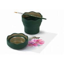2 gobelets à eau ou peinture, pliables, FABER CASTELL Clic&Go, vert foncé/Neufs