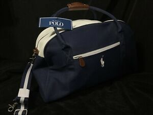NWT Polo Ralph Lauren Duffle Bag Navy Blue & White Travel Carry On Weekend