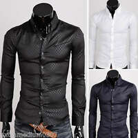 Mens Long Sleeves Dress Shirts Slim Fit Bussiness Work Korean Multicolor 6100