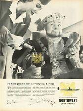 1958 Northwest Orient Airlines Stewardess Serving Wine PRINT AD