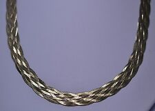 """18"""" GOLD VERMEIL STERLING SILVER 6 STRAND WOVEN WIDE CHAIN NECKLACE FROM ITALY"""