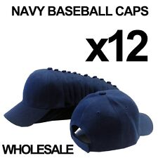 ***NAVY BLUE*** WHOLESALE LOT OF 12 PLAIN BLANK SOLID BASEBALL CAPS HATS