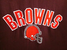 CLEVELAND BROWNS vtg embroidery V-neck shirt youth med size 10-12 helmet logo