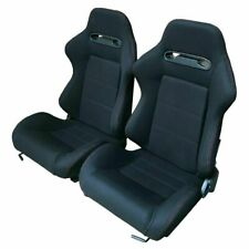 2pcs Left Right Reclinable Sports Bucket Racing Seats Red Stitch Black Cloth New Fits Cts V