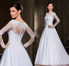 New Long Sleeves A-line White/Ivory Lace Wedding Dress Bridal Formal Gown Size