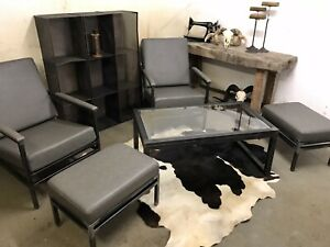Set Of Industrial Style Loft Lounge Chairs With Footstools and Coffee Table