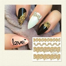 3D Nail Art Stickers Decals Wraps Metallic Gold Lace Flowers Gel Polish (6003)
