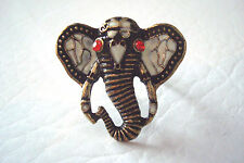 Brass Tone Alloy and Enamel Elephant Diamante Statement Ring Size N
