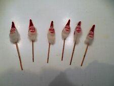 6 VINTAGE SANTA CHENILLE PICKS COTTON BEARDS CHRISTMAS W/ LABEL OCCUPIED JAPAN
