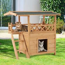 PawHut Cat House Puppy Pet Home Outdoor Garden Roof Shelter Wooden Waterproof