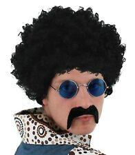 Mens 70s 80s Black Afro 118 Moustache Lennon Round hippie Glasses Fancy Dress