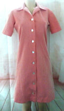 Vintage Handmade Red Sheath Dress White Textured Pinstripe Button Front