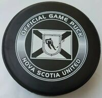NOVA SCOTIA UNITED OFFICIAL GAME PUCK MADE IN CANADA LINDSAY MFG.