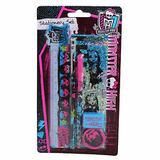 MRSTS Monster High 6 Pc STATIONERY SET Pencil Pen Sharpener Ruler Eraser Sticker
