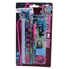 MRSTS Monster High 6 Pc STATIONERY SET Pencil Pen Sharpener Ruler Eraser Sticker